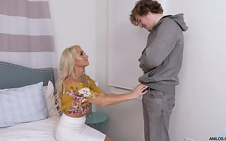 Crestfallen patriarch lassie seduces young pupil coupled with gives him a blowjob