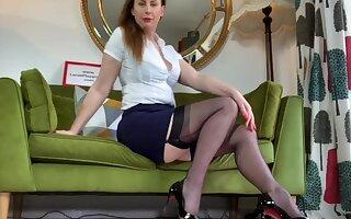 Beautiful tolerant Lara loves jesting measurement posing here the brush stockings